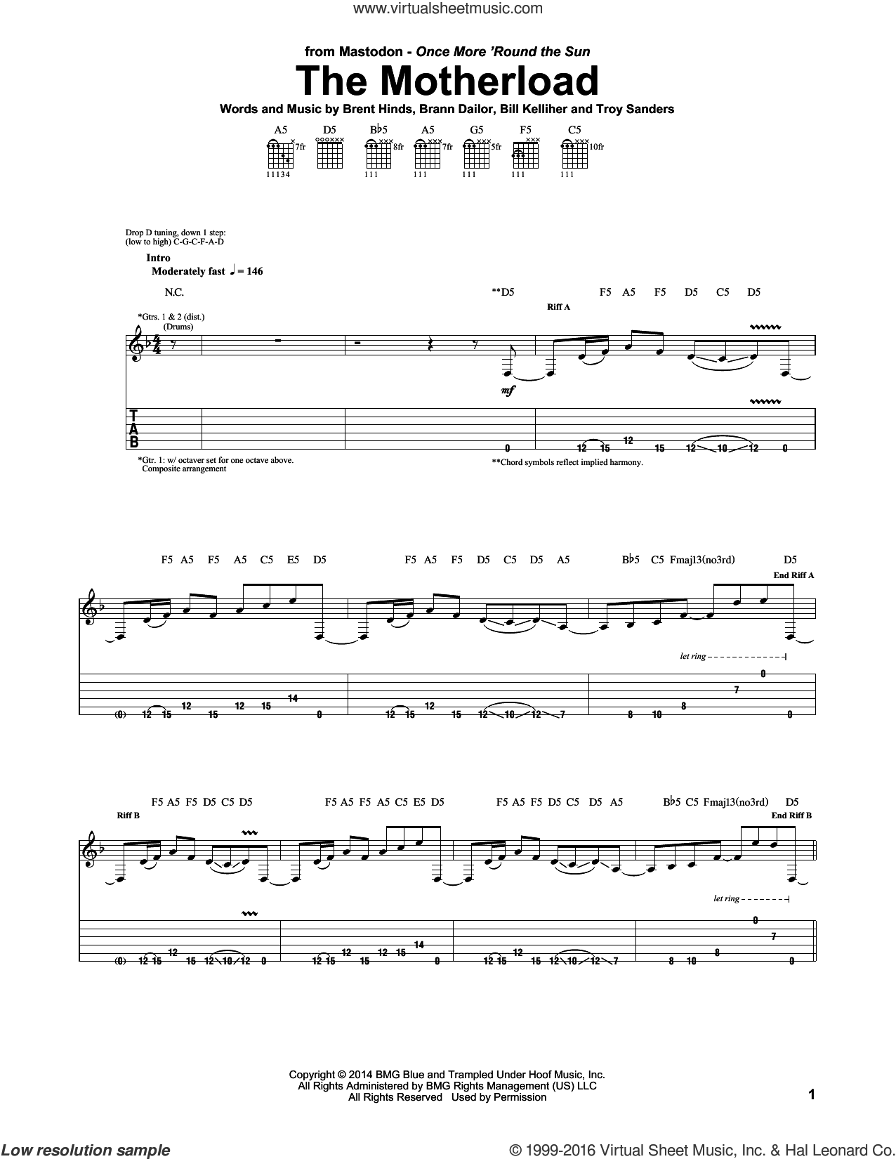 The Motherload sheet music for guitar (tablature) by Troy Sanders and Mastodon. Score Image Preview.