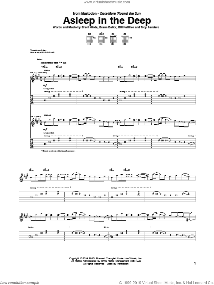 Asleep In The Deep sheet music for guitar (tablature) by Troy Sanders and Mastodon. Score Image Preview.