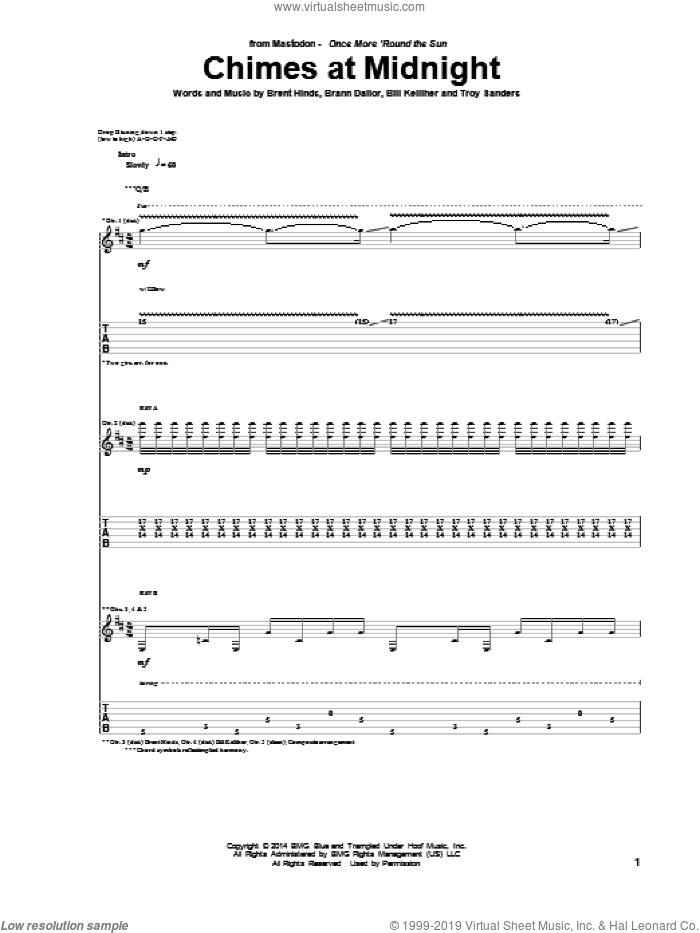 Chimes At Midnight sheet music for guitar (tablature) by Troy Sanders and Mastodon. Score Image Preview.