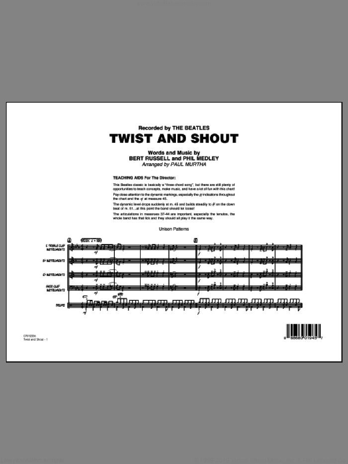 Twist and Shout (COMPLETE) sheet music for jazz band by The Beatles, Bert Russell, Paul Murtha, Phil Medley and The Isley Brothers, intermediate skill level