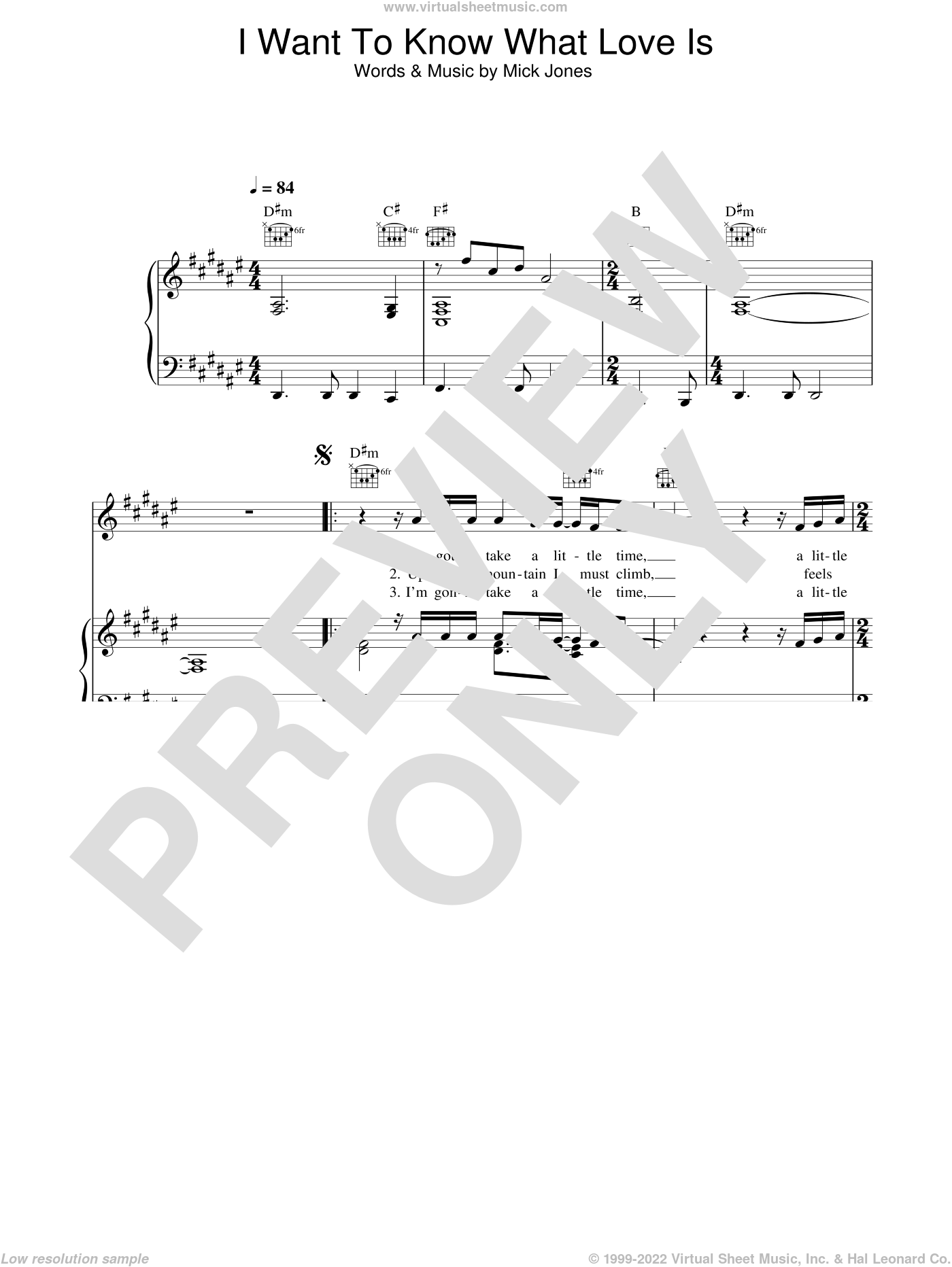 I Want To Know What Love Is sheet music for voice, piano or guitar by Foreigner and Mick Jones, intermediate skill level