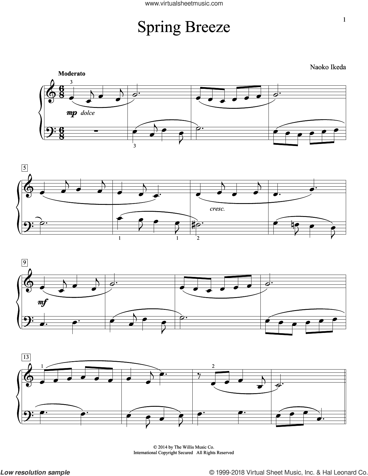 Spring Breeze sheet music for piano solo (elementary) by Naoko Ikeda, beginner piano (elementary)