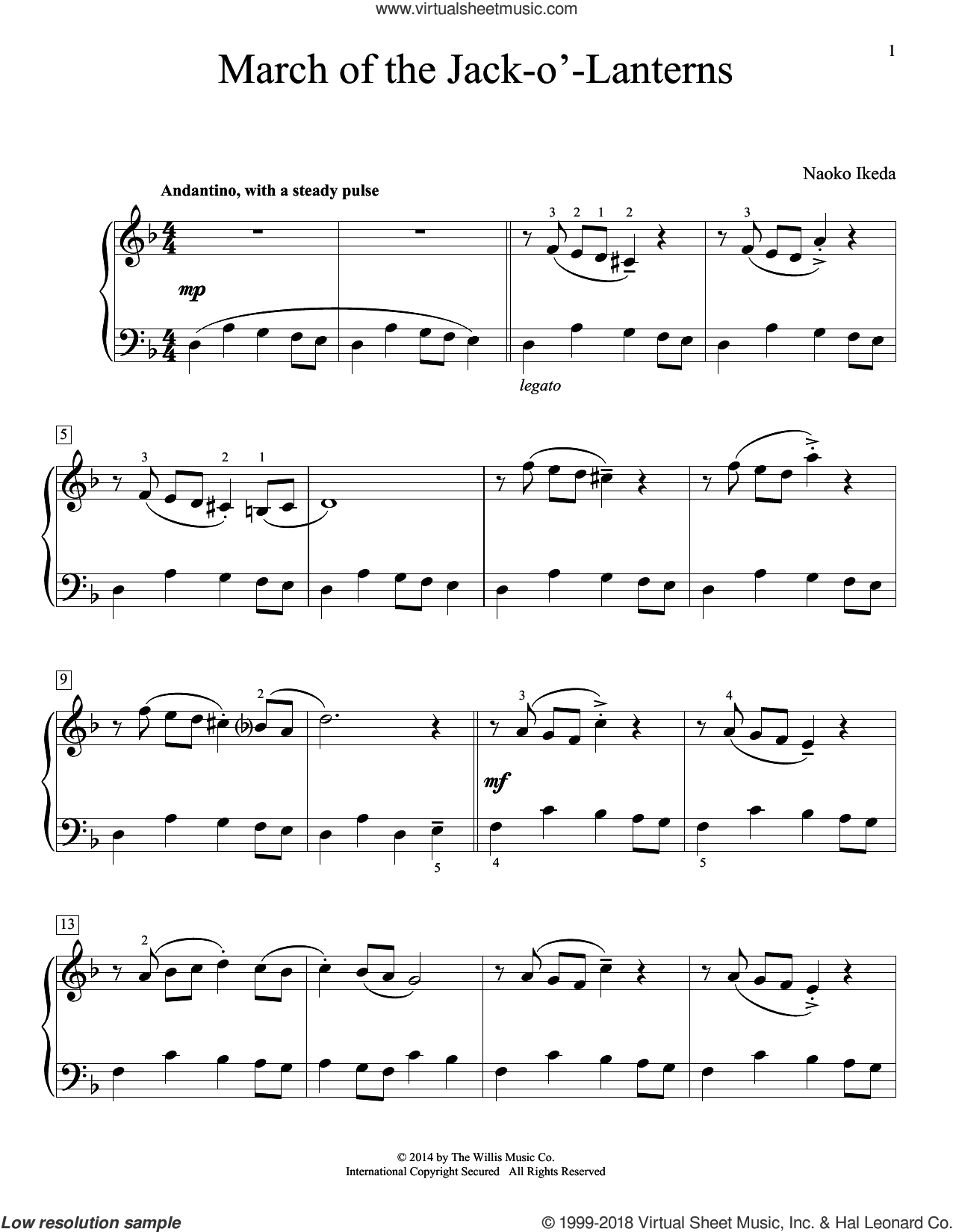 March Of The Jack-O'-Lanterns sheet music for piano solo (elementary) by Naoko Ikeda. Score Image Preview.