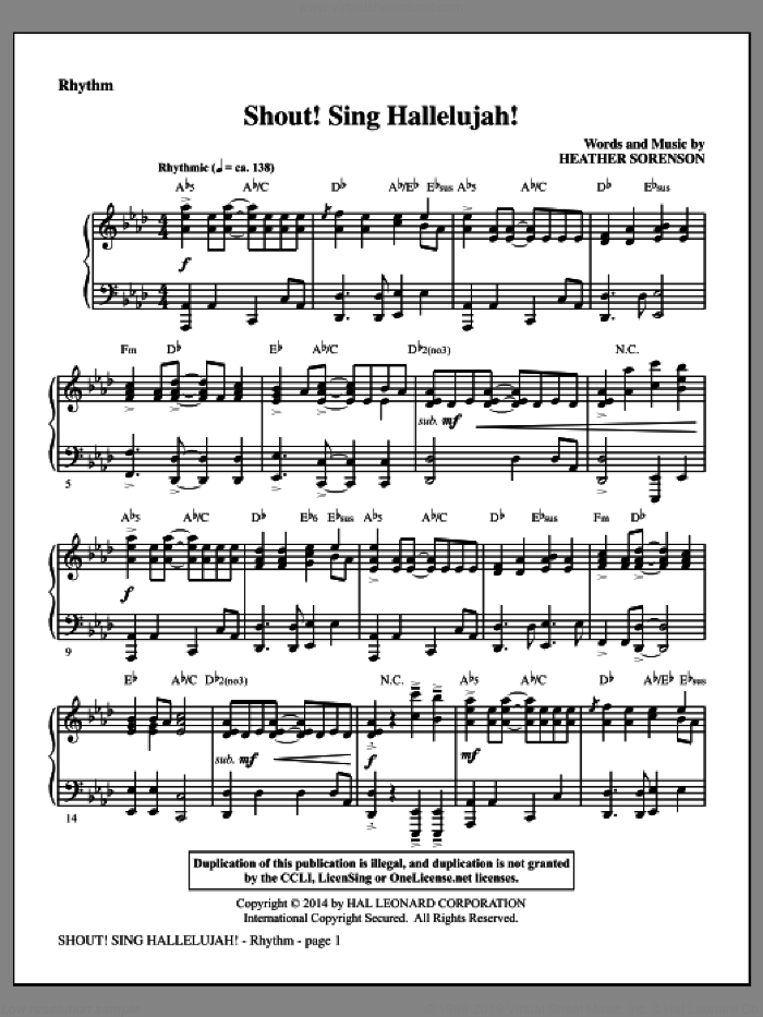 Shout! Sing Hallelujah! (complete set of parts) sheet music for orchestra/band by Heather Sorenson, intermediate skill level