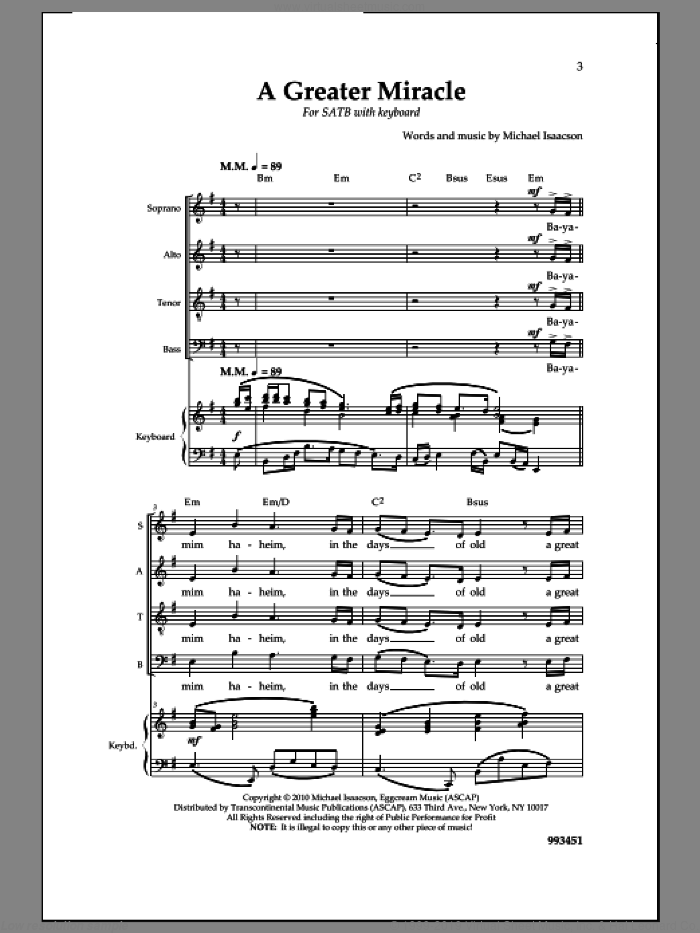 A Greater Miracle sheet music for choir (SATB: soprano, alto, tenor, bass) by Michael Isaacson, intermediate skill level