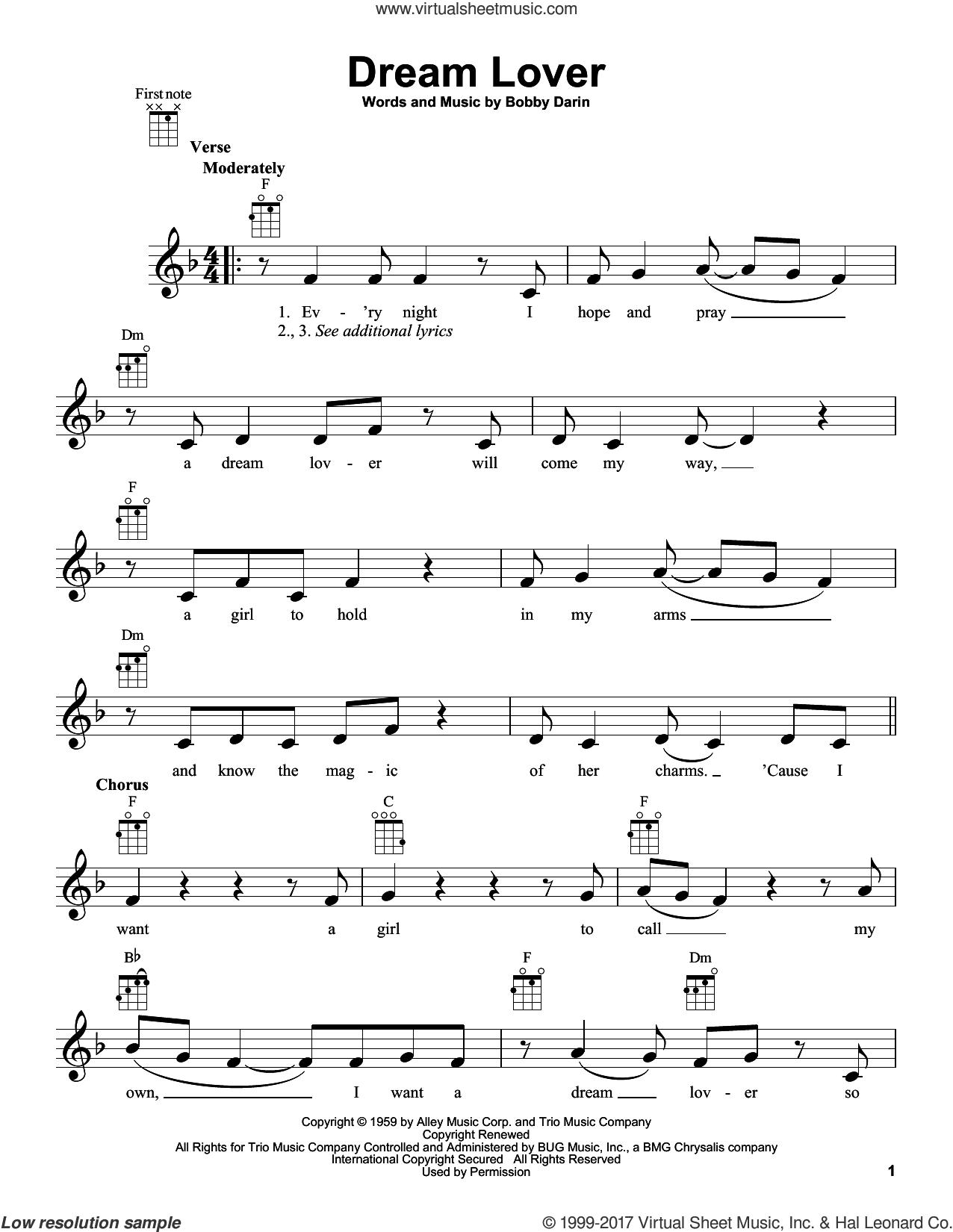 Dream Lover sheet music for ukulele by Bobby Darin and Manhattan Transfer, intermediate skill level