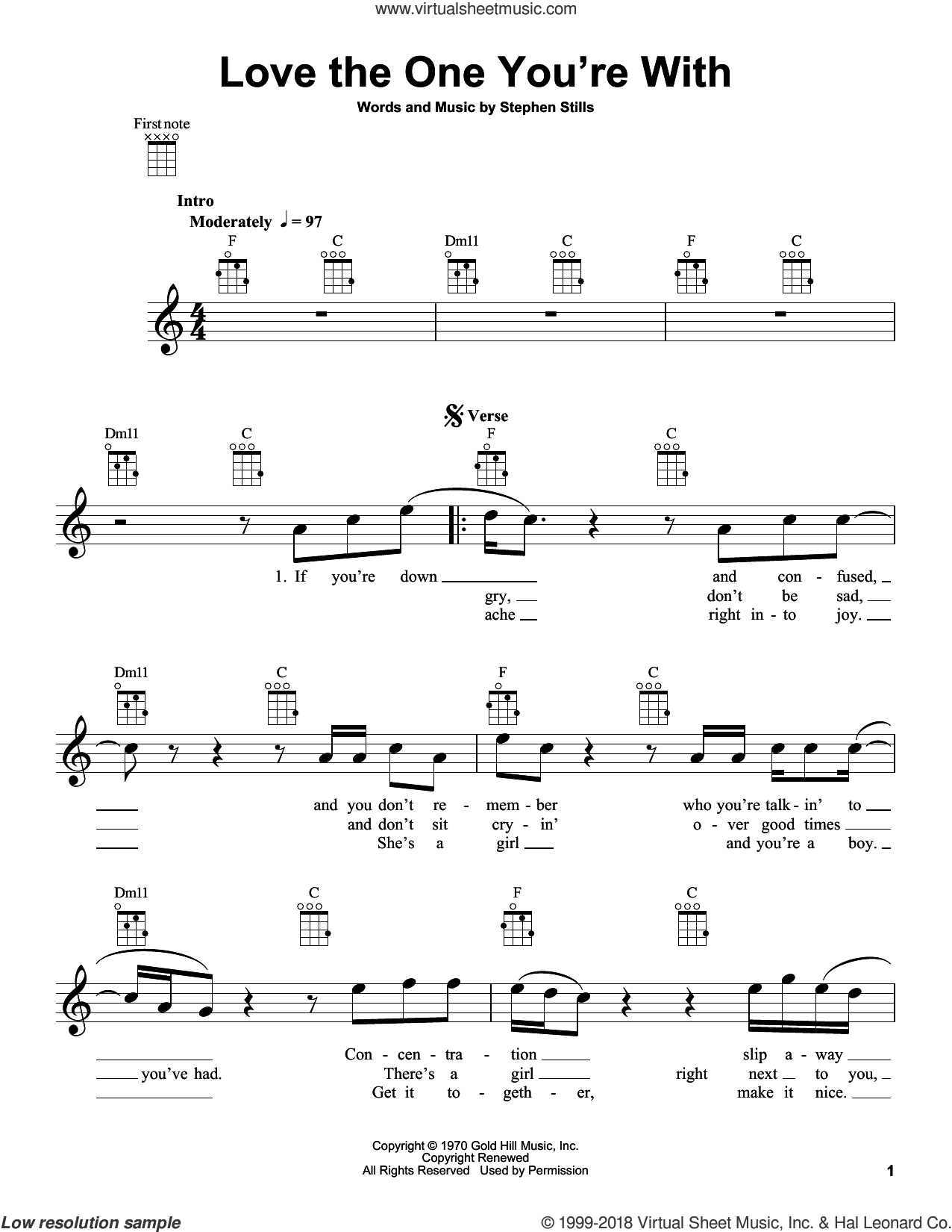Love The One You're With sheet music for ukulele by The Isley Brothers and Stephen Stills. Score Image Preview.