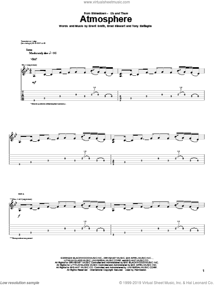 Atmosphere sheet music for guitar (tablature) by Shinedown, Brad Stewart, Brent Smith and Tony Battaglia, intermediate skill level