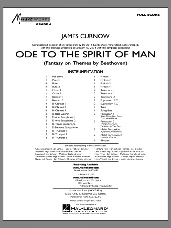 Ode to the Spirit of Man (COMPLETE) sheet music for concert band by James Curnow, intermediate. Score Image Preview.