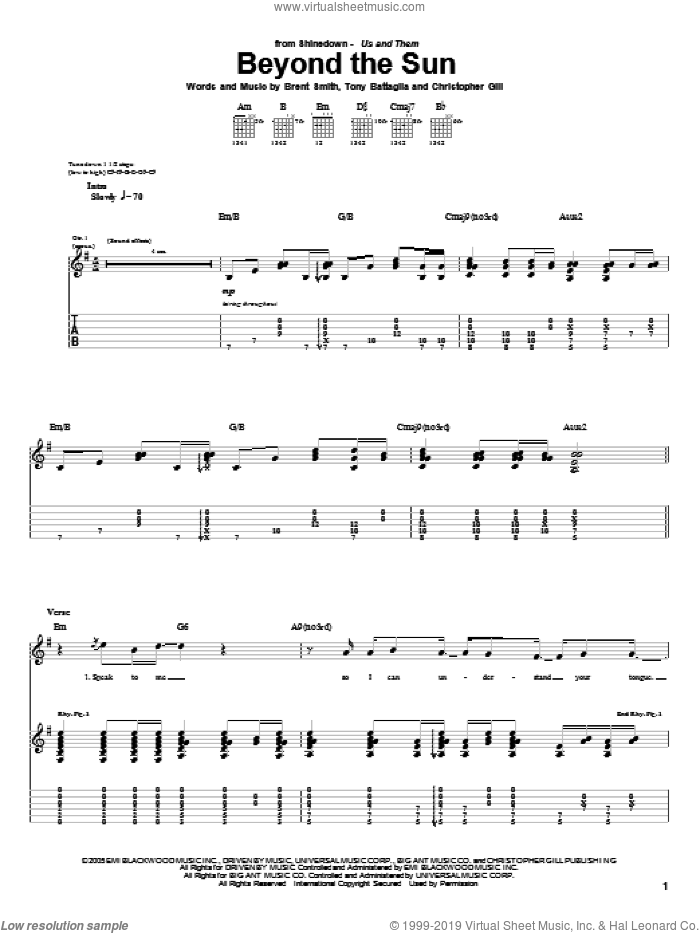Beyond The Sun sheet music for guitar (tablature) by Tony Battaglia, Shinedown and Brent Smith. Score Image Preview.