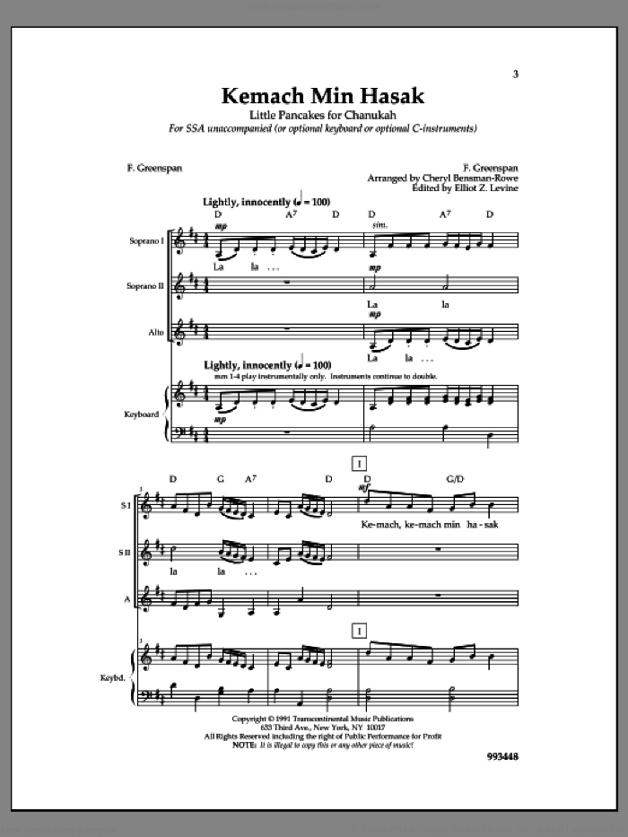 Kemach Min Hasak sheet music for choir by F. Greenspan and Cheryl Bensman-Rowe, intermediate skill level