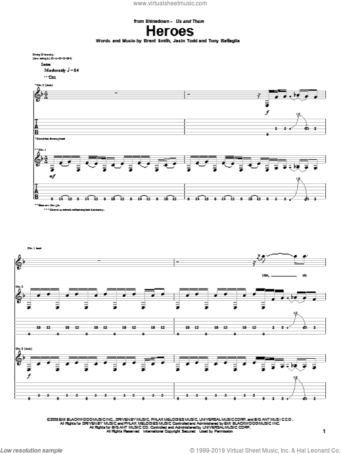 Heroes sheet music for guitar (tablature) by Shinedown, Brent Smith, Jasin Todd and Tony Battaglia, intermediate skill level