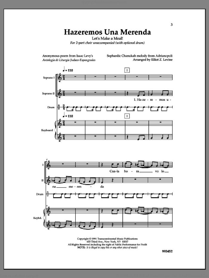 Hazeremos Una Merenda sheet music for choir by Elliot Z. Levine, intermediate skill level