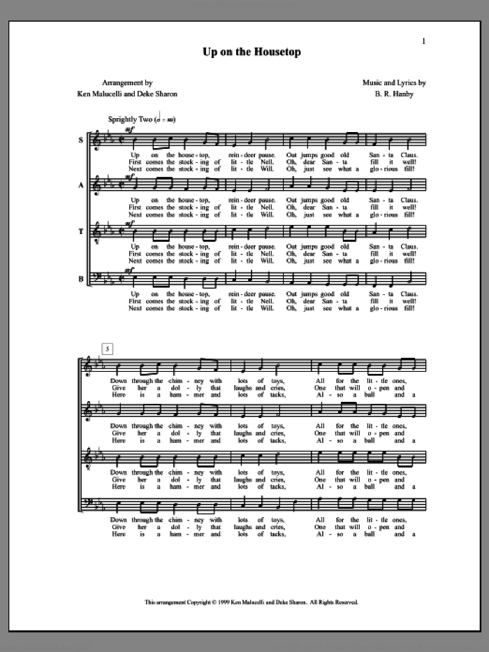 Up on the Housetop sheet music for choir by Ken Malucelli, Deke Sharon and Anne Raugh. Score Image Preview.