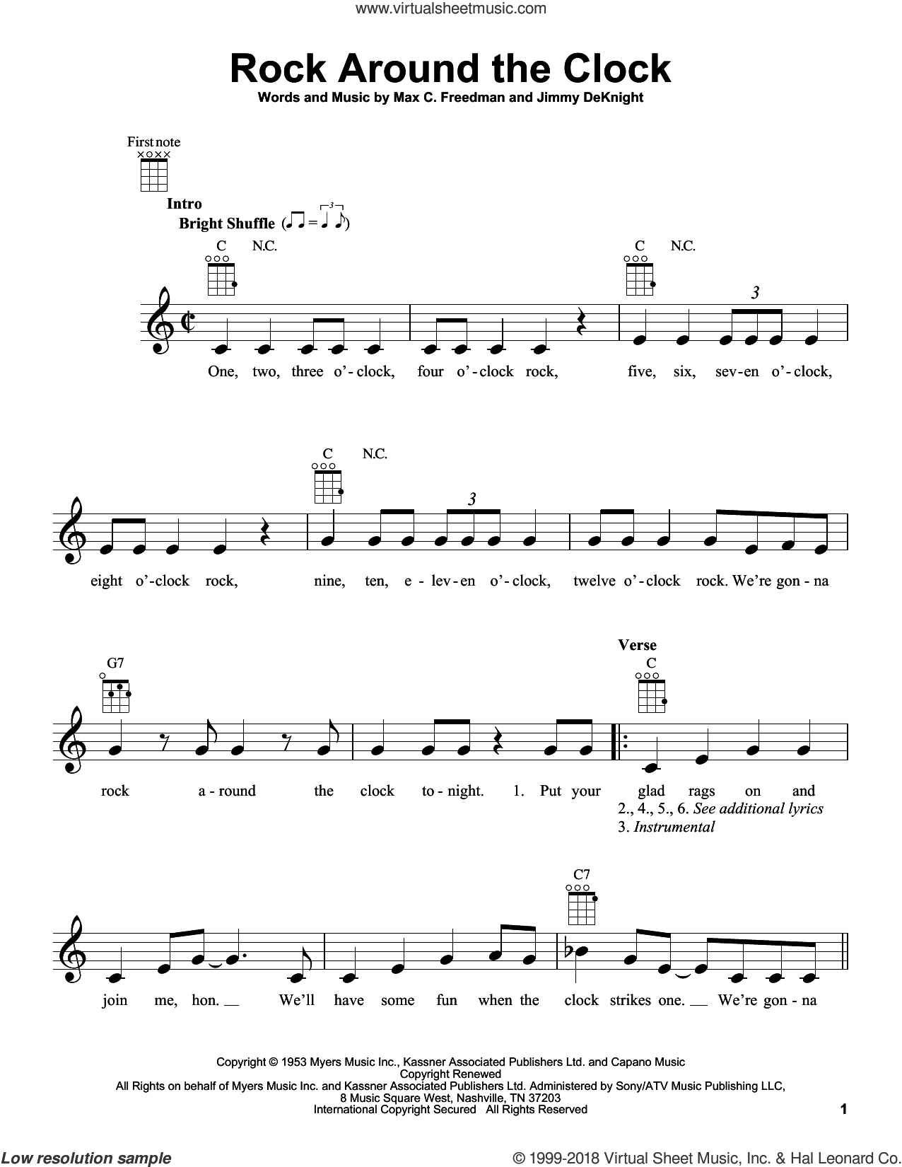 Rock Around The Clock sheet music for ukulele by Bill Haley & His Comets. Score Image Preview.