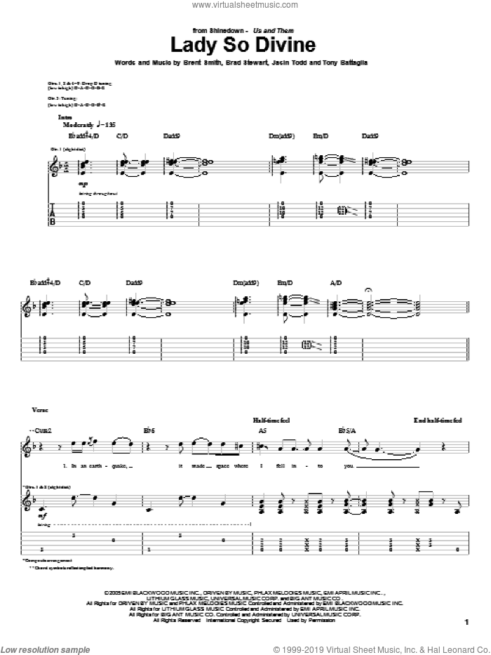 Lady So Devine sheet music for guitar (tablature) by Tony Battaglia, Shinedown, Brad Stewart and Brent Smith. Score Image Preview.