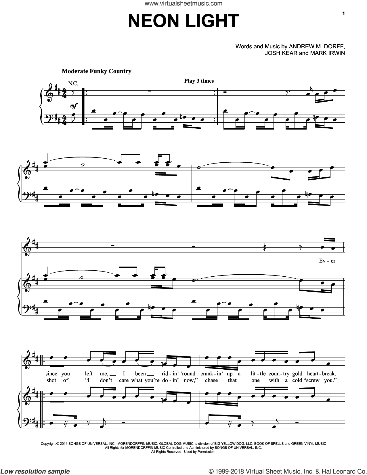 Neon Light sheet music for voice, piano or guitar by Blake Shelton, Andrew M. Dorff, Josh Kear and Mark Irwin, intermediate. Score Image Preview.