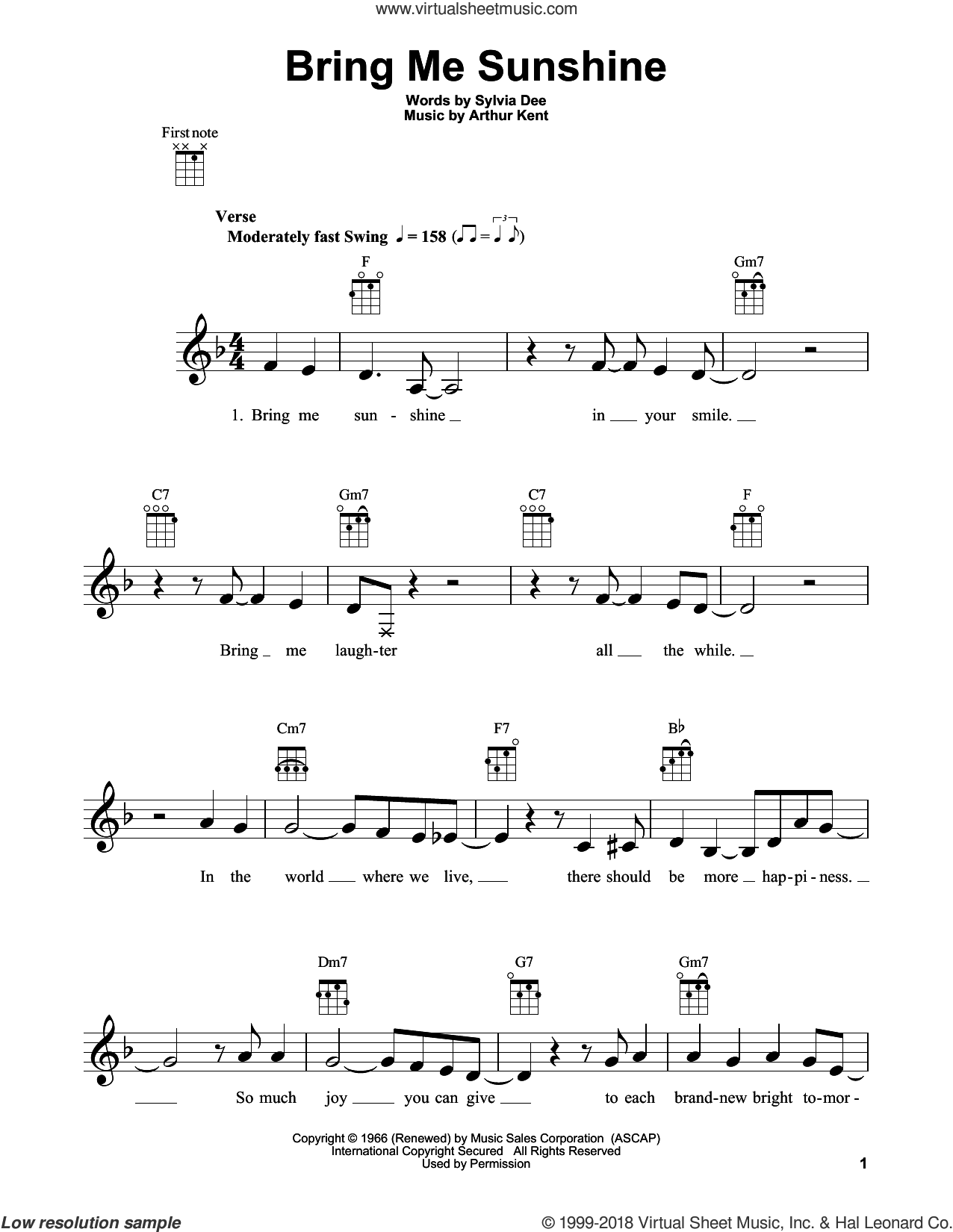 Bring Me Sunshine sheet music for ukulele by Willie Nelson, Arthur Kent and Sylvia Dee, intermediate skill level