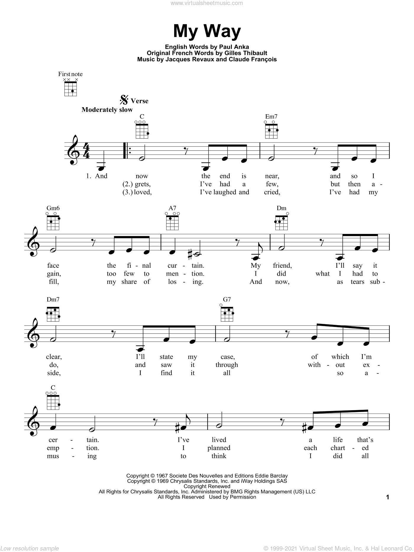 My Way sheet music for ukulele by Paul Anka, Frank Sinatra, Claude Francois and Jacques Revaux. Score Image Preview.