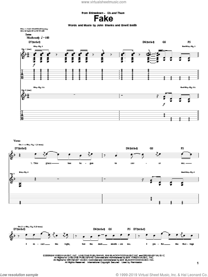 Fake sheet music for guitar (tablature) by Shinedown, Brent Smith and John Shanks, intermediate skill level