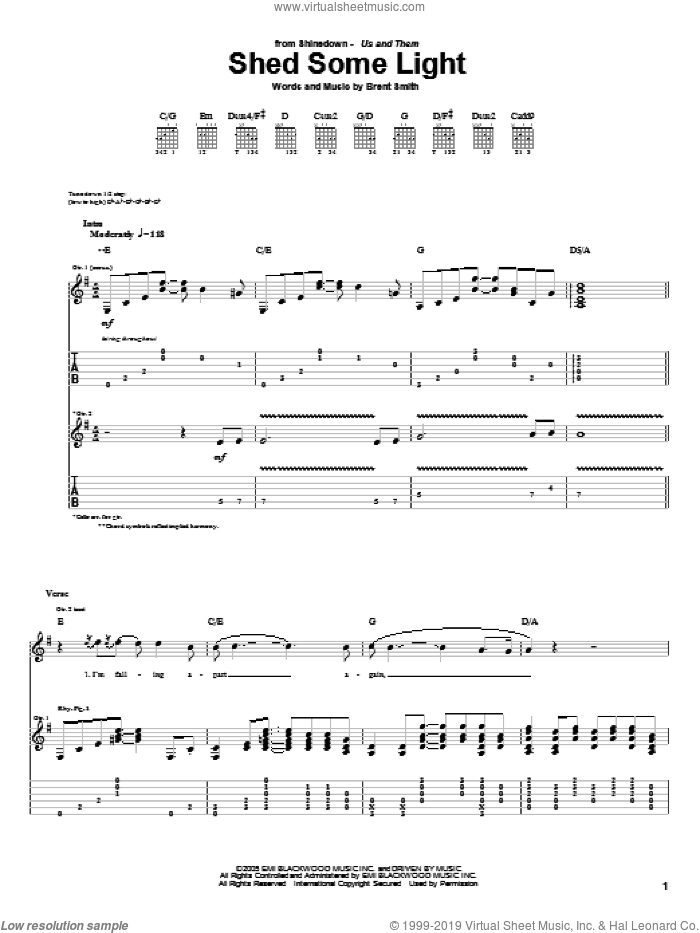 Shed Some Light sheet music for guitar (tablature) by Shinedown and Brent Smith, intermediate skill level