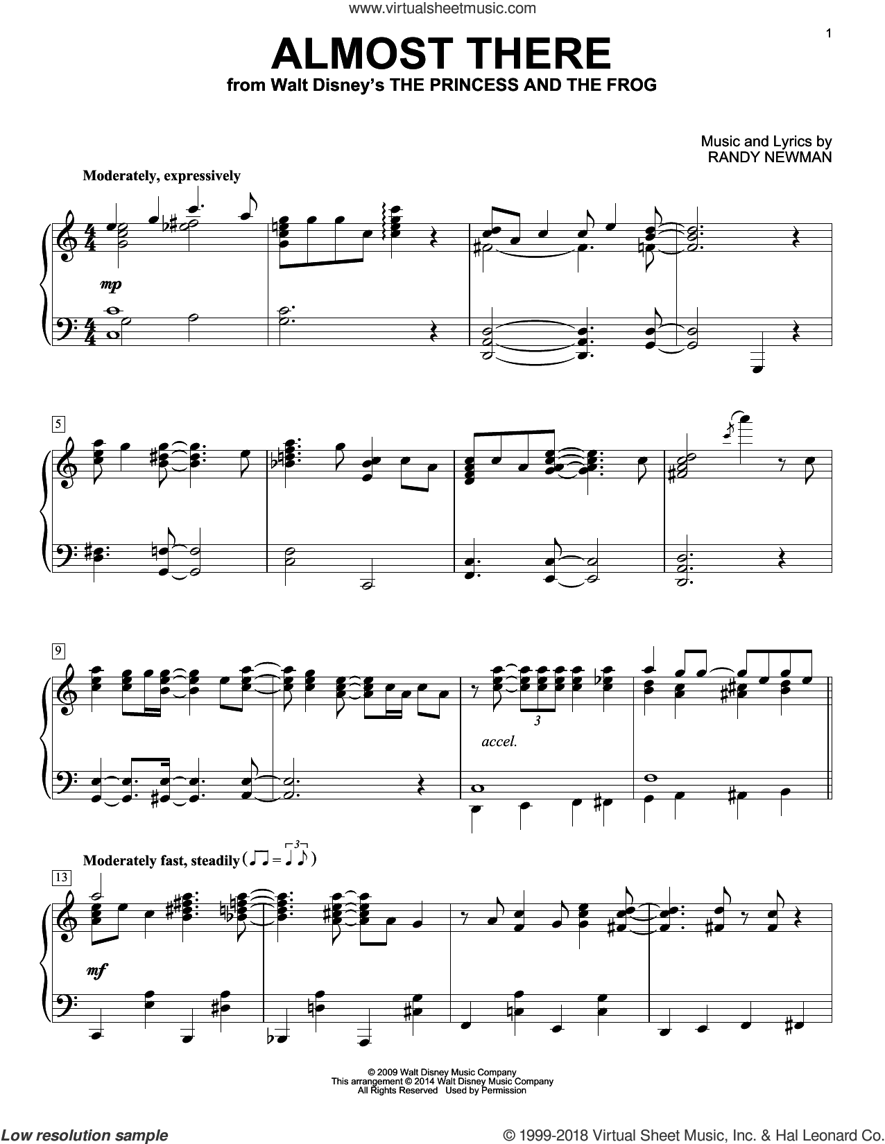 Almost There sheet music for piano solo by Randy Newman. Score Image Preview.