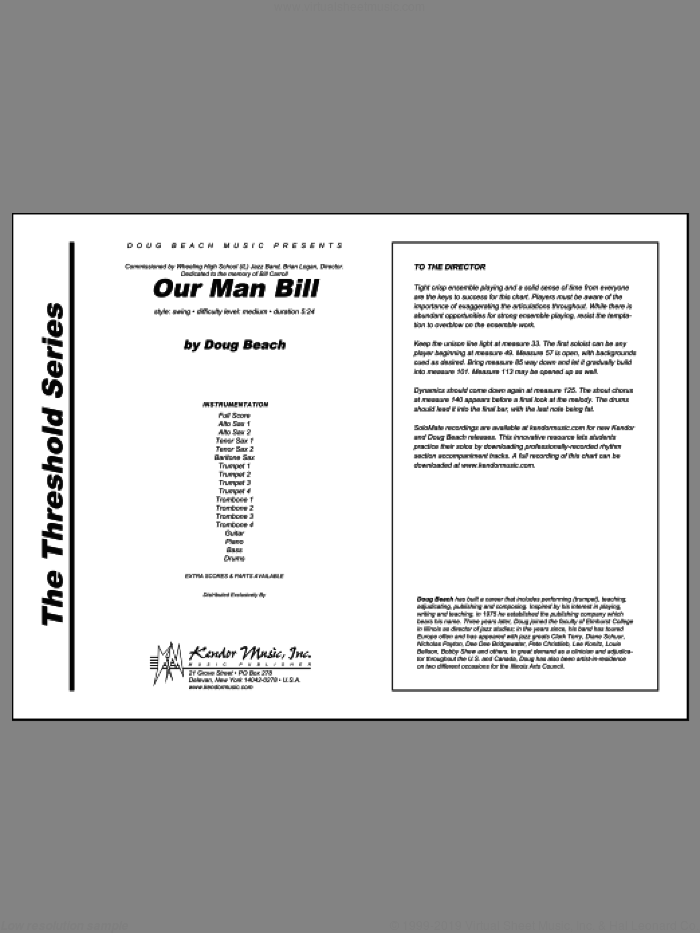 Our Man Bill (COMPLETE) sheet music for jazz band by Doug Beach, intermediate skill level