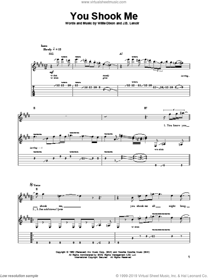 You Shook Me sheet music for guitar (tablature, play-along) by Willie Dixon, Led Zeppelin, Muddy Waters and J.B. Lenoir. Score Image Preview.