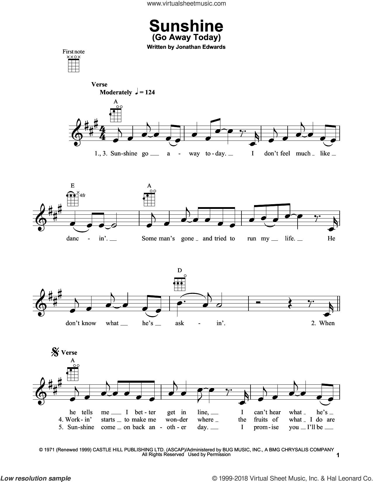 Sunshine (Go Away Today) sheet music for ukulele by Jonathan Edwards, intermediate skill level