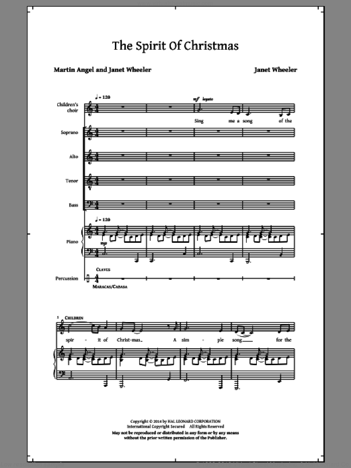 The Spirit Of Christmas sheet music for choir (SATB) by Martin Angel and Janet Wheeler. Score Image Preview.