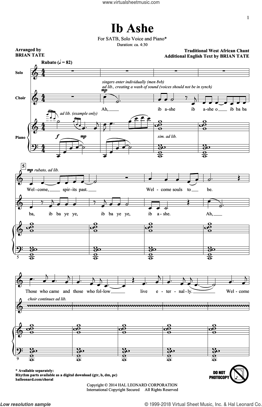 Ib Ashe sheet music for choir (SATB) by Brian Tate. Score Image Preview.