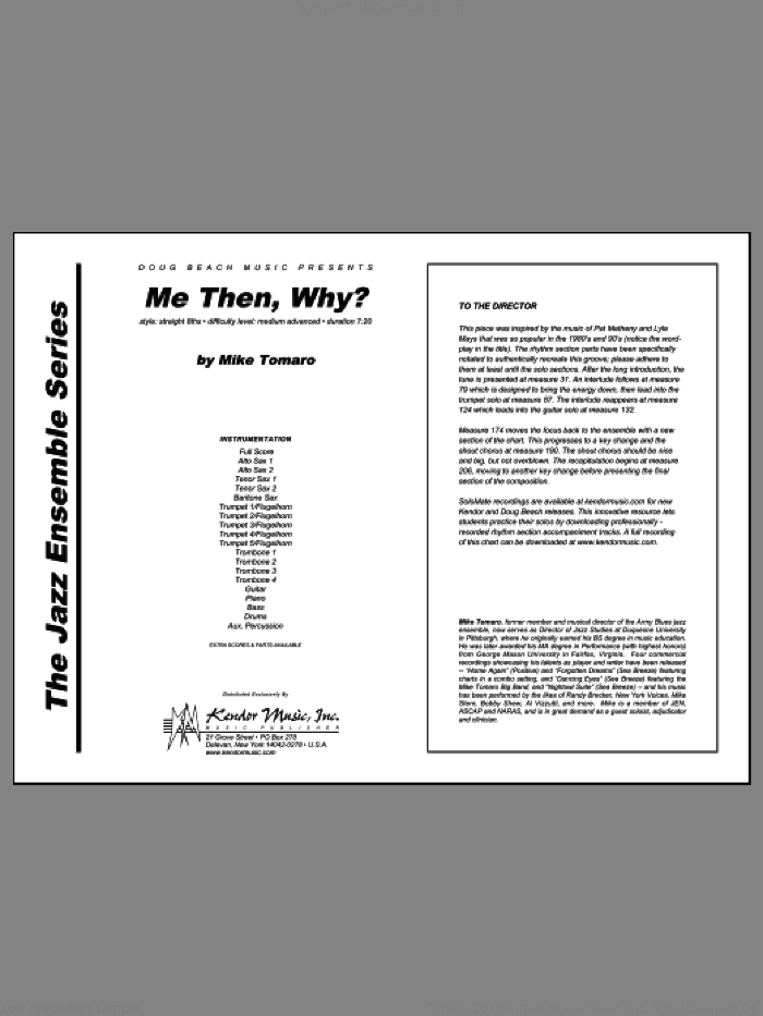 Me Then, Why? (COMPLETE) sheet music for jazz band by Mike Tomaro, intermediate