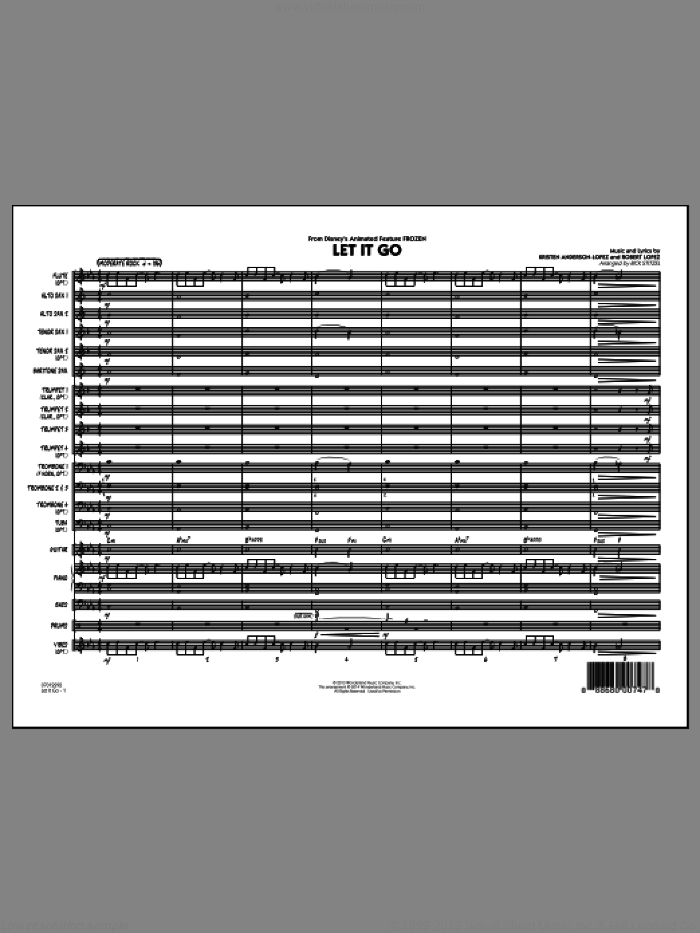 Let It Go (from Frozen) (COMPLETE) sheet music for jazz band by Robert Lopez, Idina Menzel, Kristen Anderson-Lopez and Rick Stitzel, intermediate. Score Image Preview.