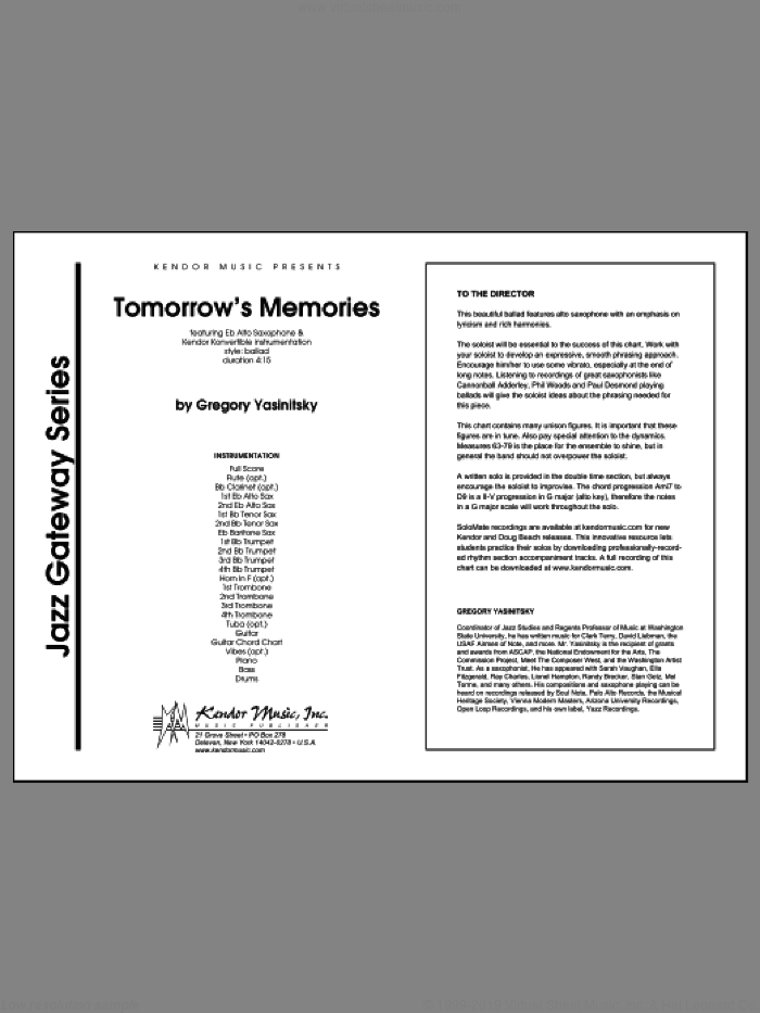 Tomorrow's Memories (COMPLETE) sheet music for jazz band by Gregory Yasinitsky, intermediate skill level