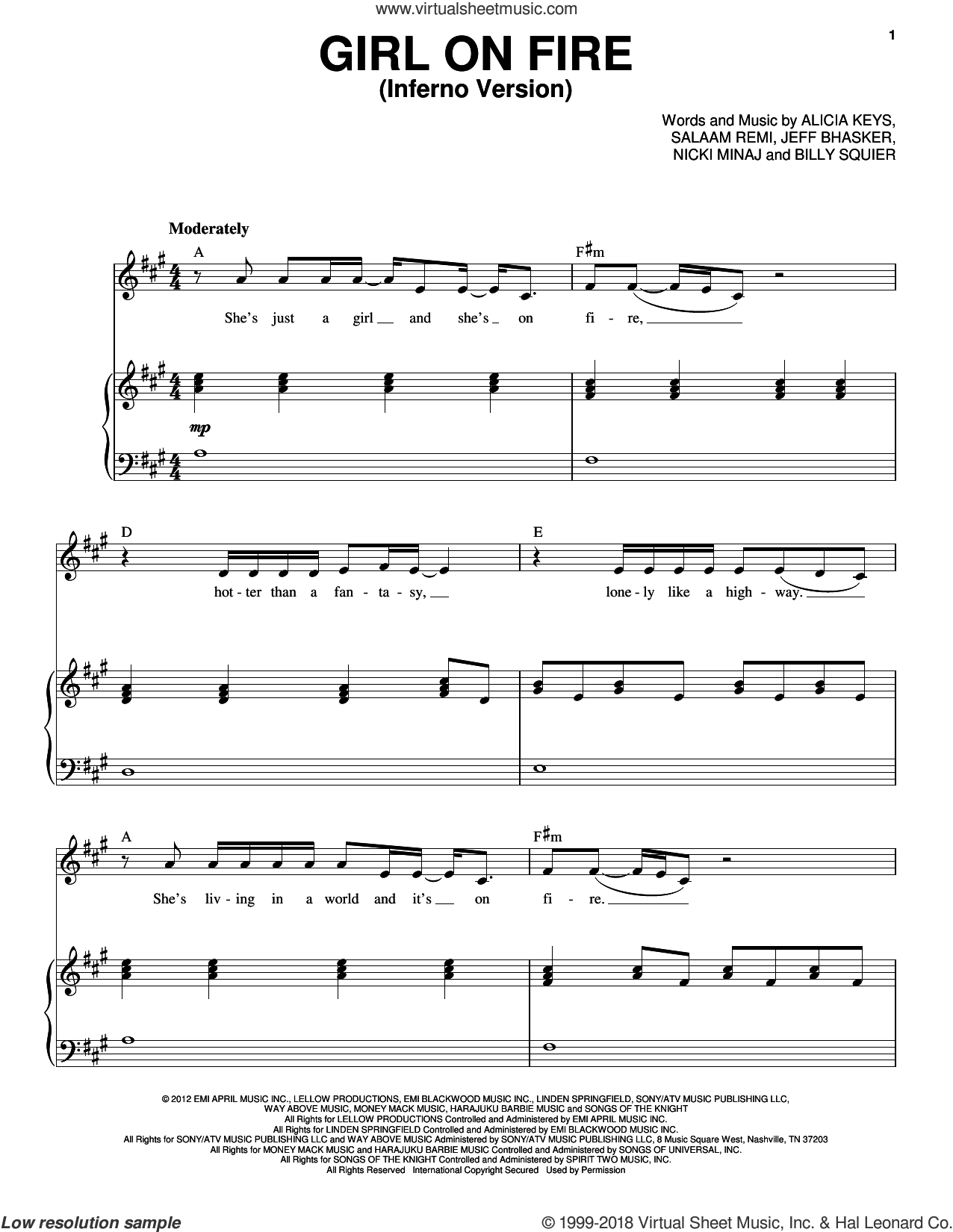 Girl On Fire (Inferno Version) sheet music for voice and piano by Alicia Keys Featuring Nicki Minaj, Alicia Keys, Billy Squier, Jeff Bhasker, Nicki Minaj and Salaam Remi, intermediate skill level