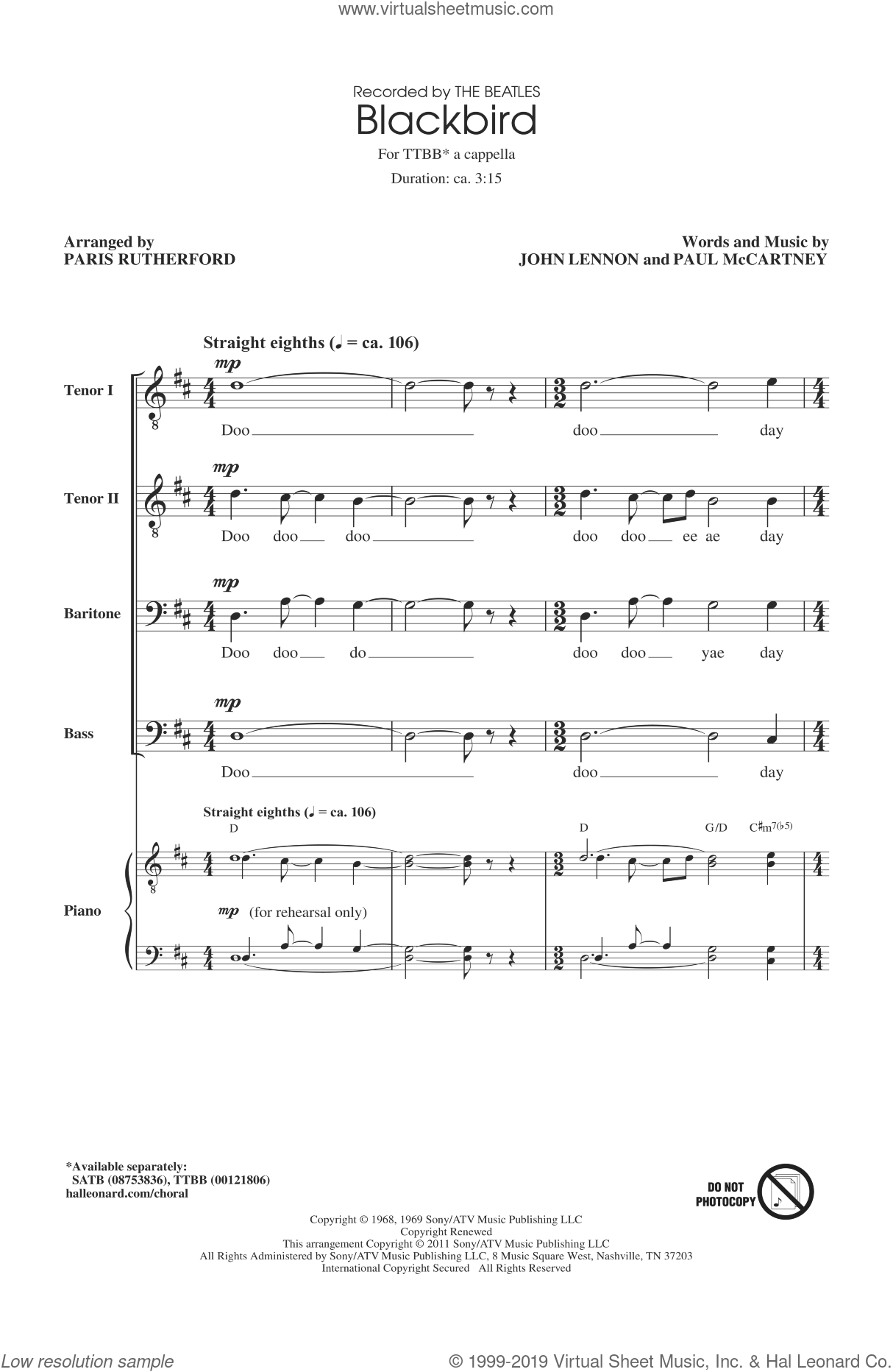 Blackbird sheet music for choir (TTBB: tenor, bass) by The Beatles, Glee Cast, Paris Rutherford, Wings, John Lennon and Paul McCartney, intermediate. Score Image Preview.