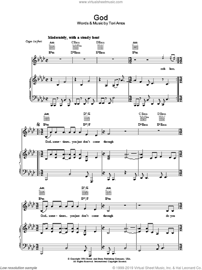 God sheet music for voice, piano or guitar by Tori Amos. Score Image Preview.