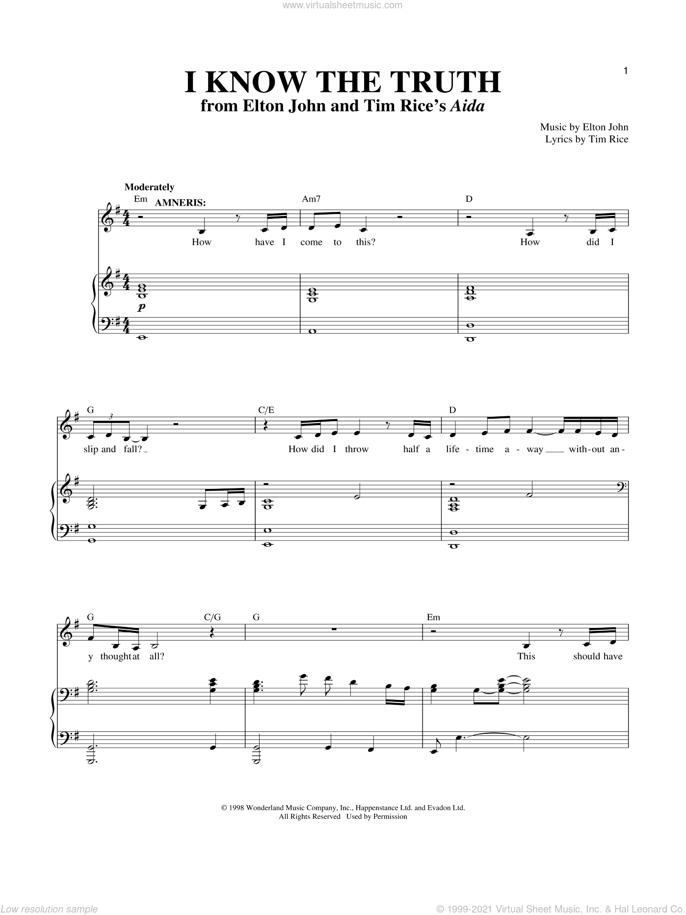 I Know The Truth sheet music for voice and piano by Elton John, Richard Walters and Tim Rice, intermediate