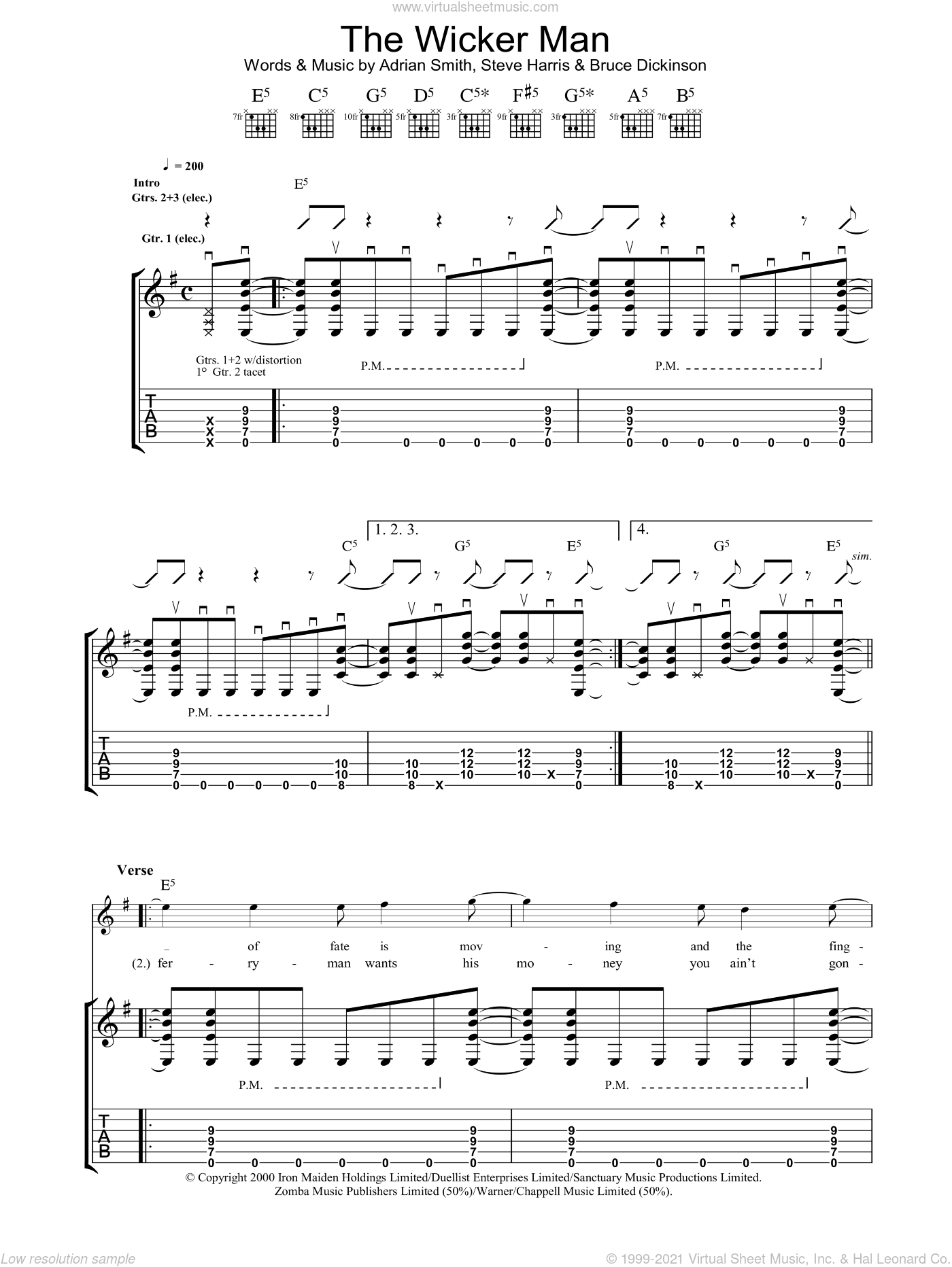 The Wicker Man sheet music for guitar (tablature) by Iron Maiden, Adrian Smith, Bruce Dickinson and Steve Harris, intermediate skill level