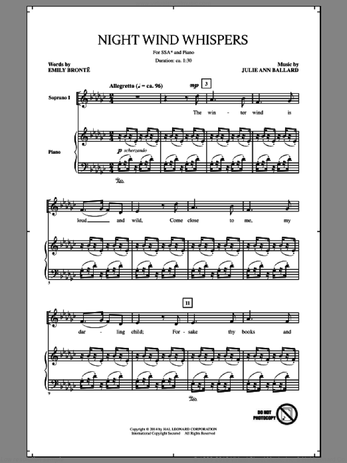 Night Wind Whispers sheet music for choir (soprano voice, alto voice, choir) by Julie Ann Ballard. Score Image Preview.