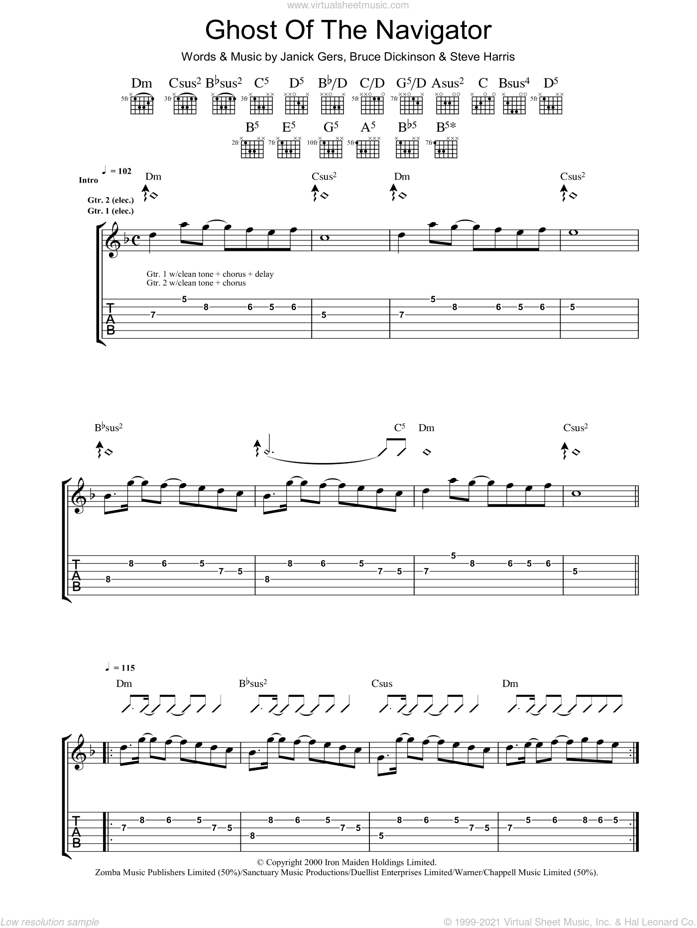 Ghost Of The Navigator sheet music for guitar (tablature) by Steve Harris