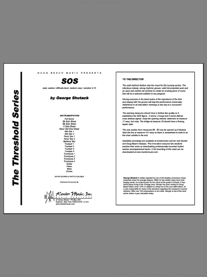 SOS (COMPLETE) sheet music for jazz band by George Shutack, intermediate jazz band. Score Image Preview.
