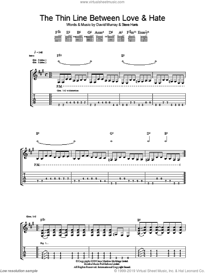 The Thin Line Between Love And Hate sheet music for guitar (tablature) by Steve Harris, Iron Maiden and David Murray. Score Image Preview.