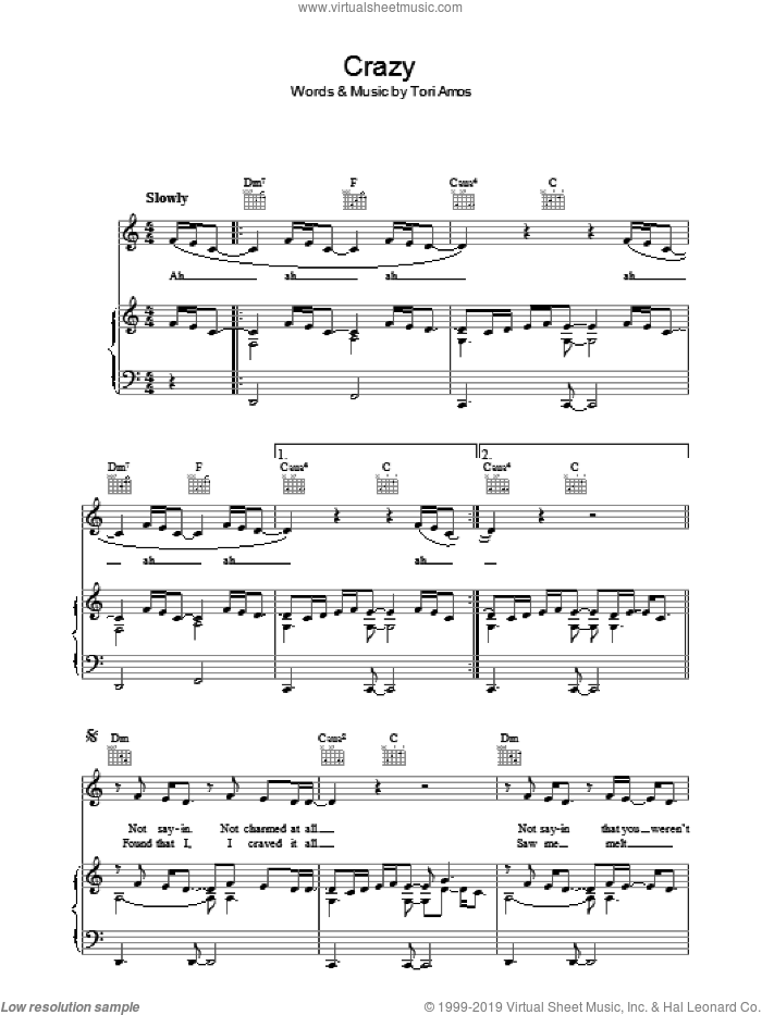 Crazy sheet music for voice, piano or guitar by Tori Amos. Score Image Preview.