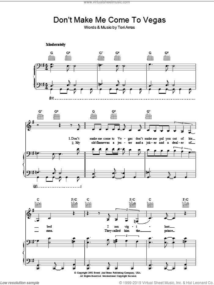 Don't Make Me Come To Vegas sheet music for voice, piano or guitar by Tori Amos, intermediate voice, piano or guitar. Score Image Preview.