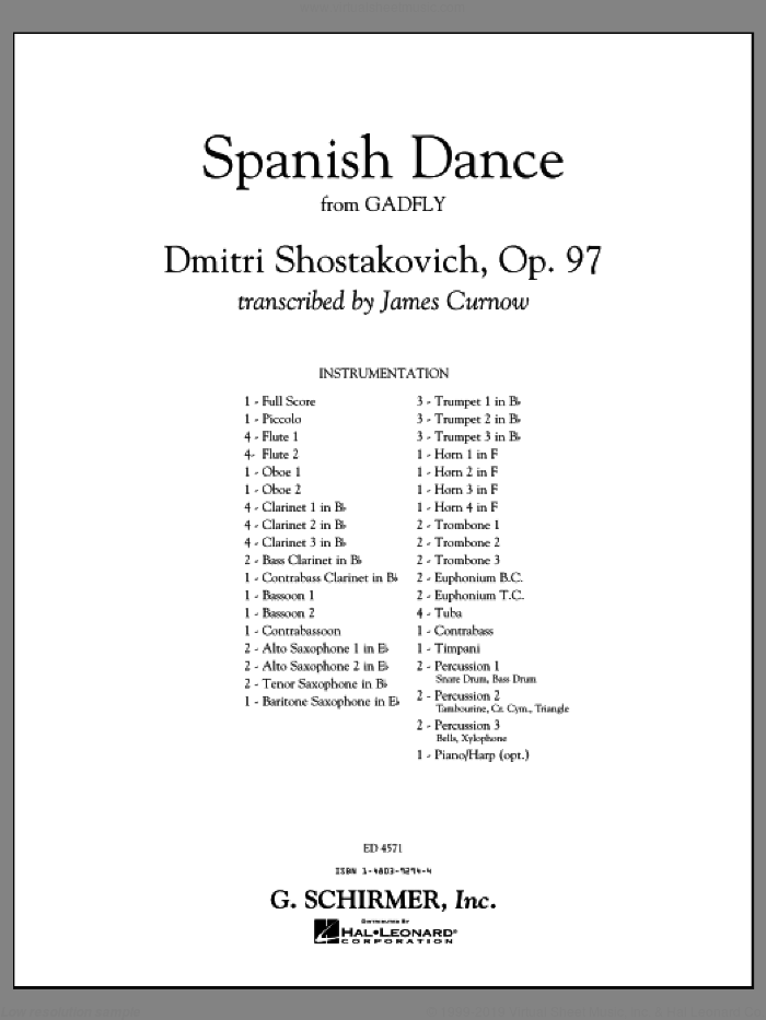 Spanish Dance (from The Gadfly) (COMPLETE) sheet music for concert band by Dmitri Shostakovich and James Curnow, classical score, intermediate skill level