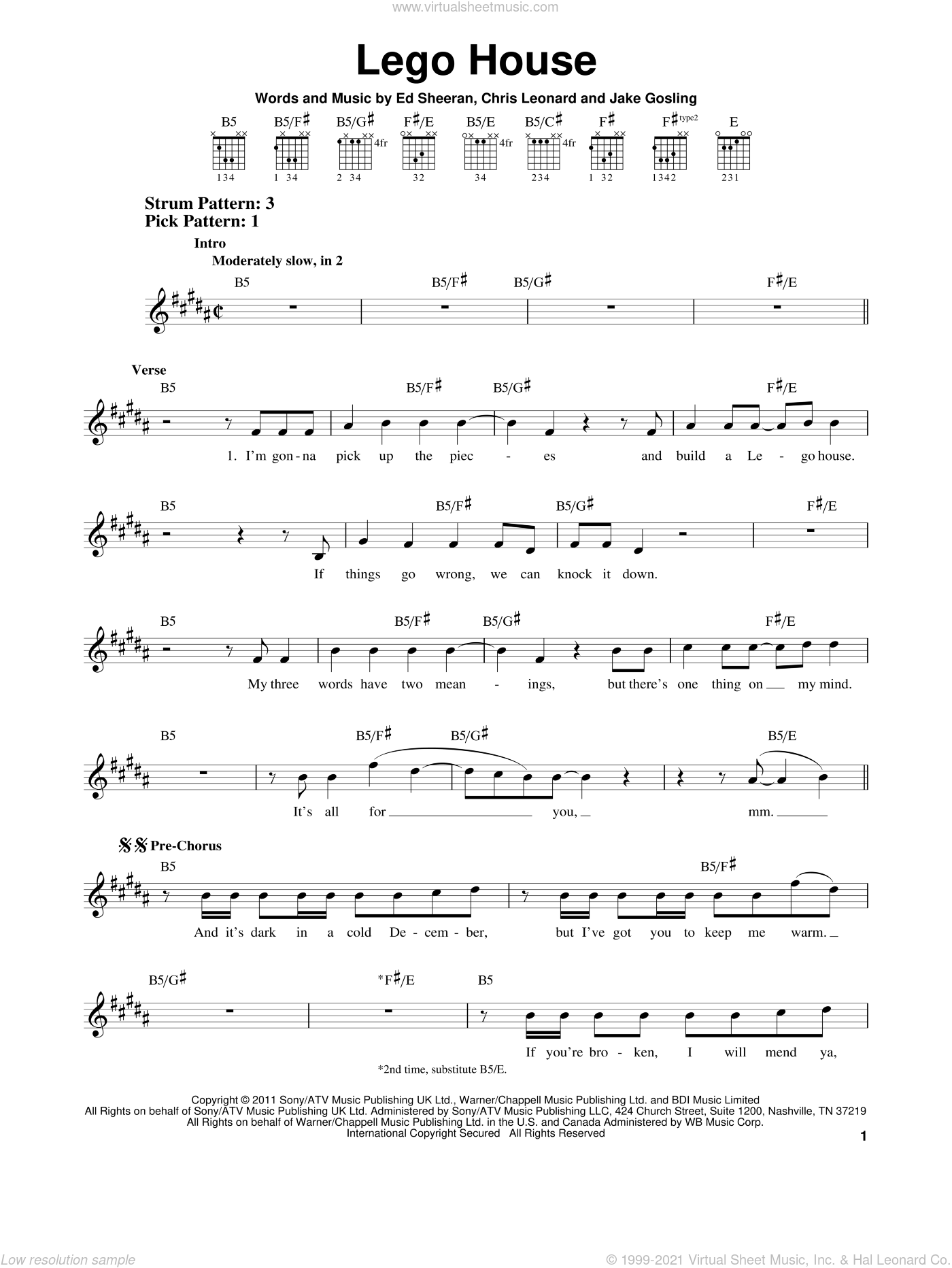 Lego House sheet music for guitar solo (chords) by Ed Sheeran, Chris Leonard and Jake Gosling, easy guitar (chords)