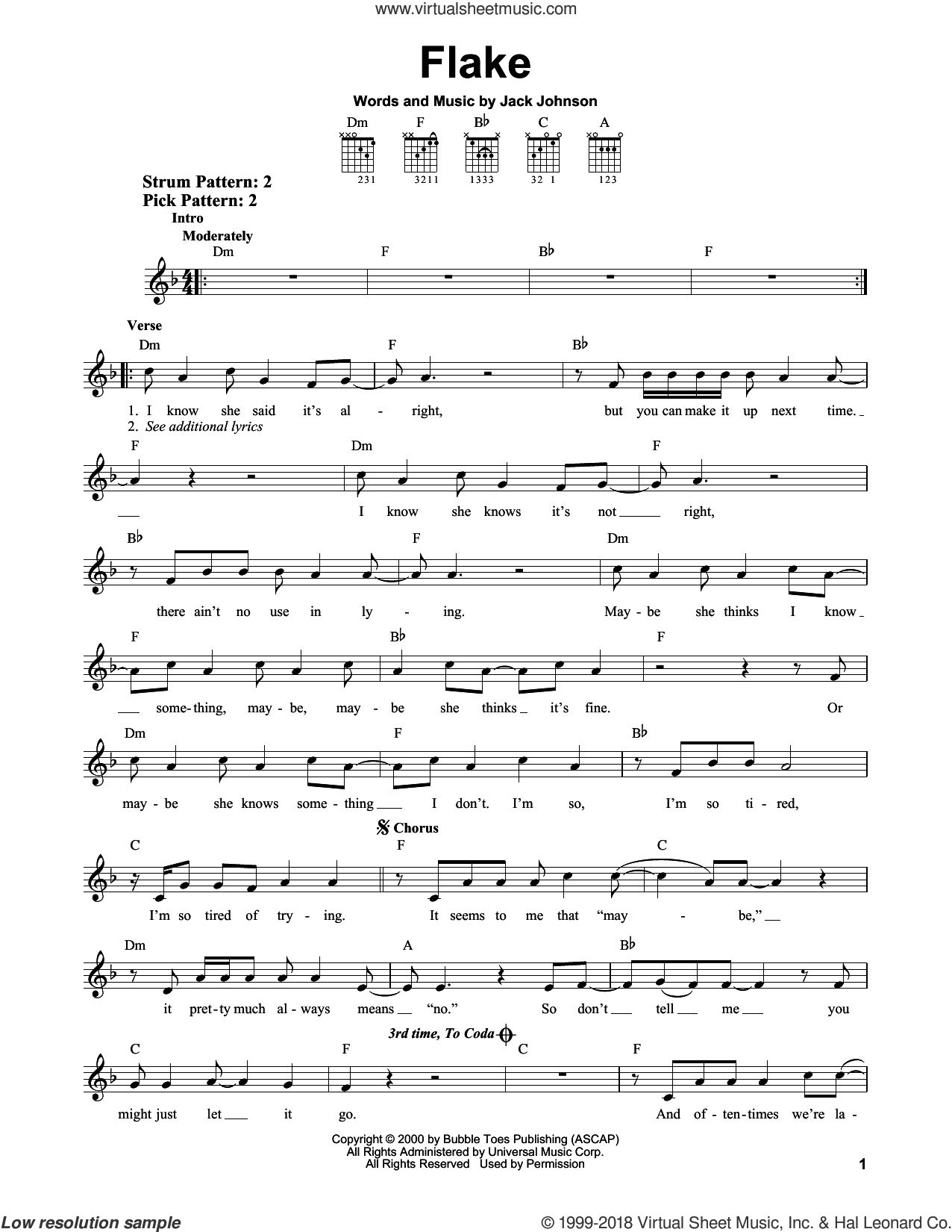 Flake sheet music for guitar solo (chords) by Jack Johnson, easy guitar (chords). Score Image Preview.
