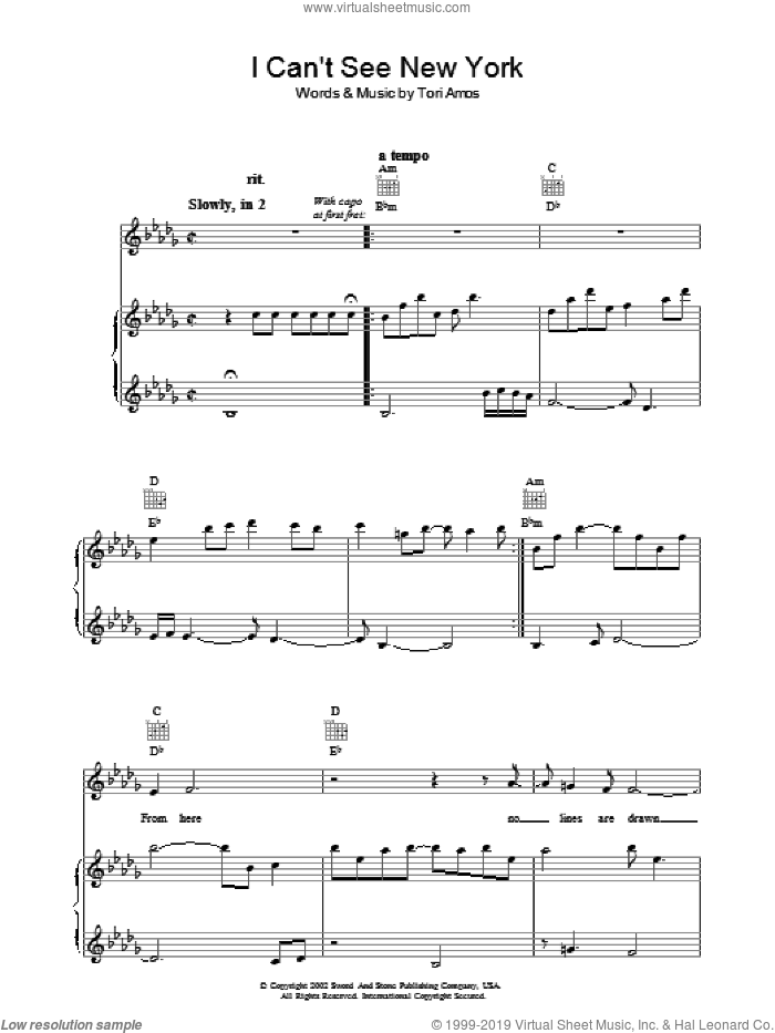 I Can't See New York sheet music for voice, piano or guitar by Tori Amos, intermediate. Score Image Preview.