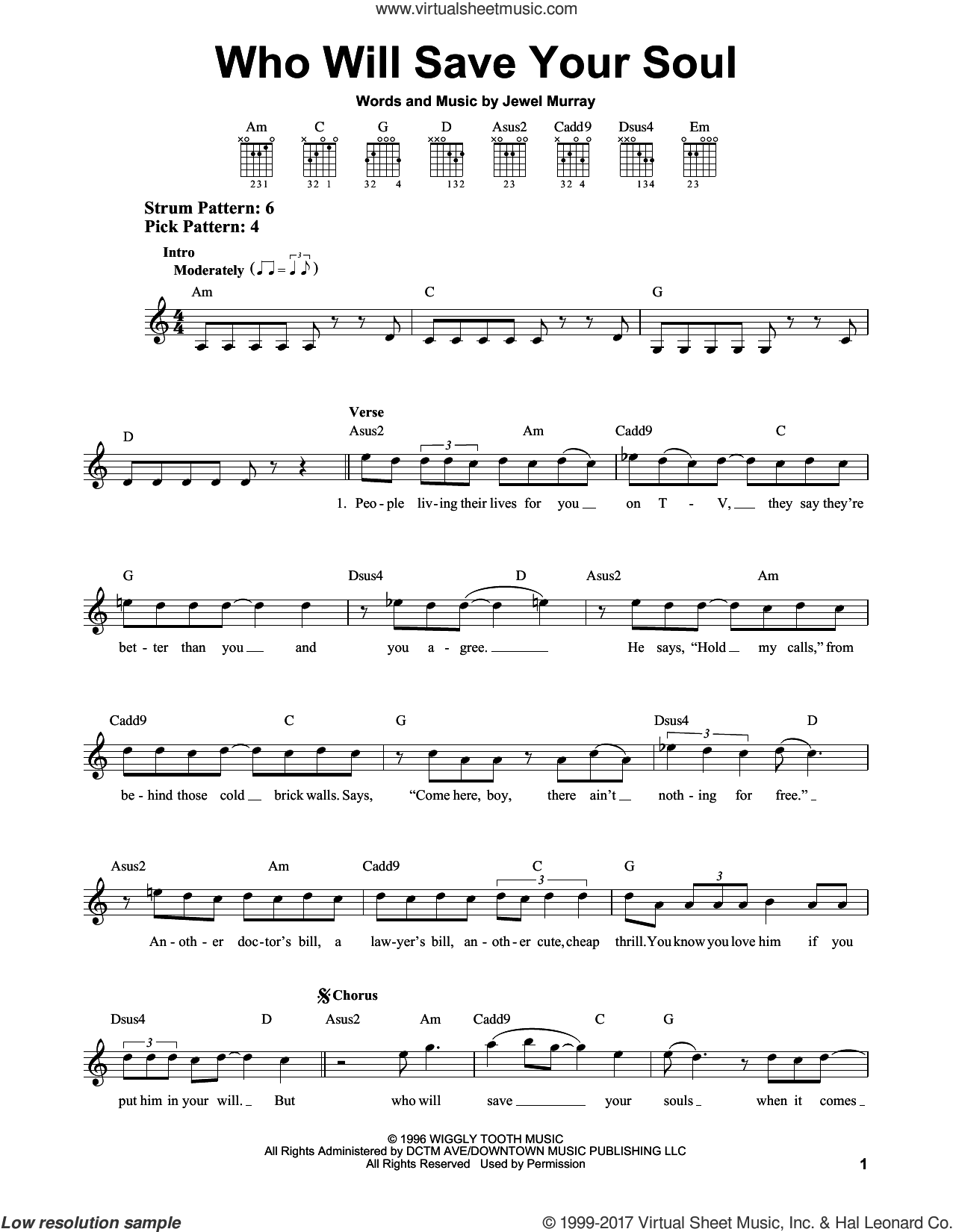 Who Will Save Your Soul sheet music for guitar solo (chords) by Jewel and Jewel Murray, easy guitar (chords)